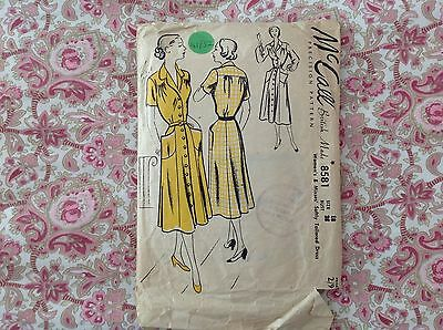 """Vintage 40s McCalls Sewing Dressmaking Pattern 36"""" Softly Tailored Dress"""