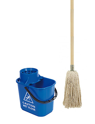Abbey Blue Proffesional Mop Handle and Bucket Set Cotton Mop Head Cleaning Floor