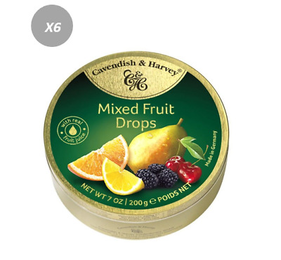 905897 4 x 200g TINS OF CAVENDISH & HARVEY'S MIXED FRUIT DROPS GREAT VALUE GER!