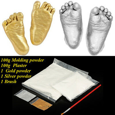 AU 3D Casting Kit Baby Hand Foot Print Gift Plaster + Brush + Gold Silver Powder
