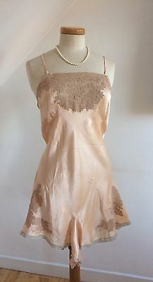 Vintage 1930s Silk & Lace Cami Knickers Play Suit Teddy Hand Made Delicious 30s