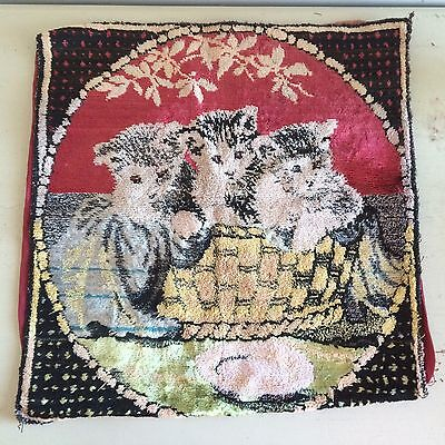 Victorian Chenille Cushion Cover Kittens At Play Retro Antique Home