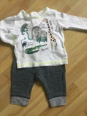 Next Baby Boys Outfit Age 0-3 Months Jogging Bottoms, Animal Detail Top Vgc