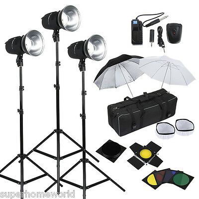 Fotografía Estudio 3*250W Lámpara Flash Light Soportes Trigger Iluminación Kit