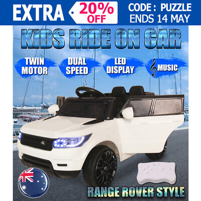 Electric Kids Ride On Car Range Rover Style Twin Motor Dual Speed Music Remote