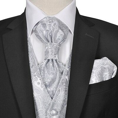 Men's Silver Paisley Wedding Party Prom Cruise Waistcoat &Tie Set Suit Size 56