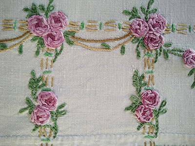 "Exquisite Rose Arbours/Arches~Vintage Raised Hand Embroidered Tablecloth 41""sq"