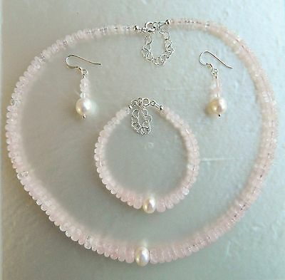 Morganite and Pearl Necklace Bracelet Earring Set Sterling Silver