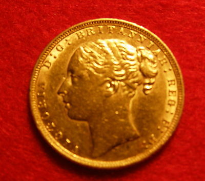 A Good Victoria Young Head 22 Carat Gold Full Sovereign. Dated 1871.
