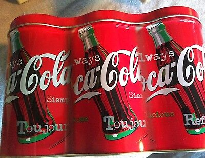 1998 Always Coca Cola 6 Pack Can Shaped Tin Metal Box Container