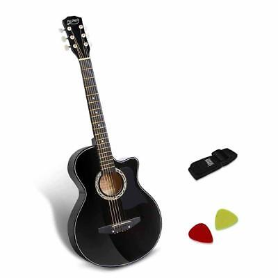 NEW 38 Inch Wooden Acoustic Guitar Black