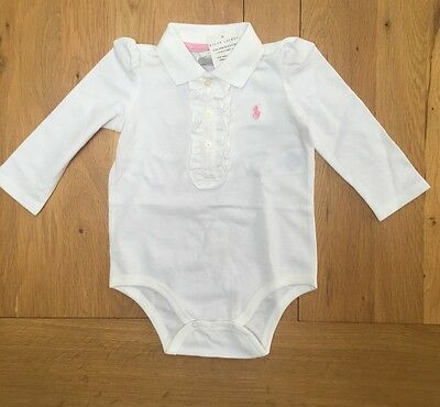 Brand New Ralph Lauren 9m Baby Long Sleeves Baby Grow Romper Polo Ruffle Front