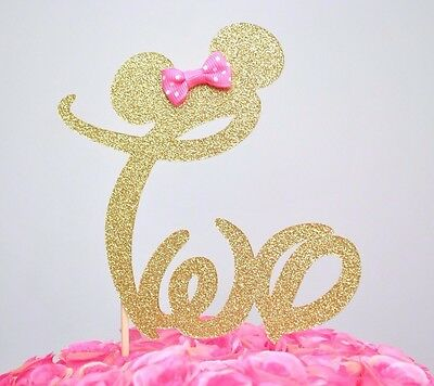 "Minnie Mouse Glitter ""TWO"" Cake Topper Birthday Party Gold With Pink Bow"