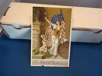 Anheuser - Busch beer vtg trading card advertising 1907 USA Flag liberty