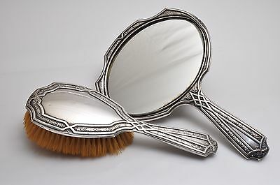 ALVIN Art Nouveau Sterling Silver Vanity Hand Mirror & Brush