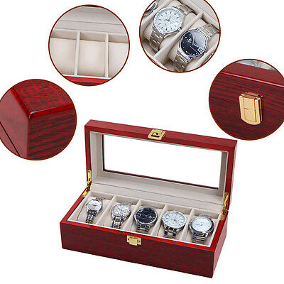 5 Grid Slots Wood Watch Display Box Jewelry Storage Organizer Holder Case
