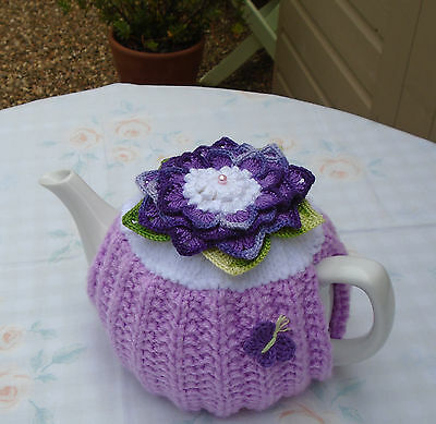 Hand Knitted  Flower Tea Cosy  For A Medium Teapot Crochet Butterfly