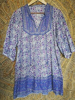vintage Indian cotton tunic mini dress free size 8 10 12 16 Blue floral Paisley