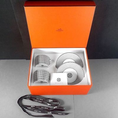 Hermes Tea Set for 2 Mosaique au 24 Platinum Cup & Saucer Boxed MSRP US $520.00