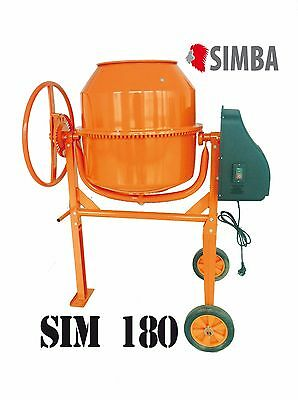 Electric Cement Mixer 180L Litre 230V Volt 550W Portable Concrete Mortar Plaster