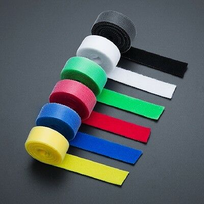 20mm x 1m  6 Colour Hook and Loop Strapping Cable Ties Fastening Tape Reusable