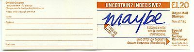 1986 FJ6B £1.20 Handwriting 'Maybe' Folded Booklet