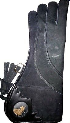 "Heavy Duty Eagle, Falconry Glove 17""Long,4 Layer Nubuck Leather, (Dull Black)"