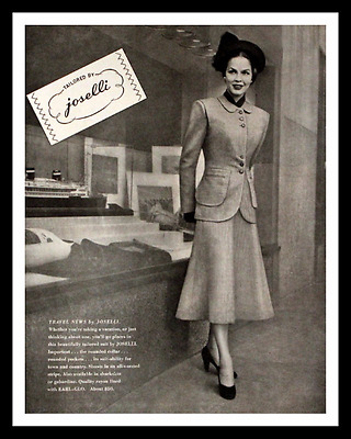 1947 Joselli Tailored Suit Ad - Skirt Suit - Vintage 1940s Fashion Advertising