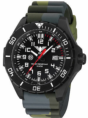 KHS Tactical Watches IP Black Police Watch Swiss Movement Green Camouflage Band