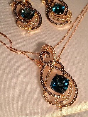 LeVian 14k Strawberry Gold, Chocolate,Vanilla Diamonds, blue Topaz 3 pc SET