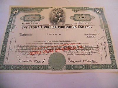 Old Stock Certificates 100 Shares The Crowell Collier Publishing Company Green F