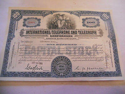 Old Stock Certificates 100 Shares International Telephone And Telegraph Blue F