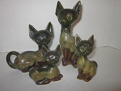 Vintage Elwill Pottery set of 4 cats Canada