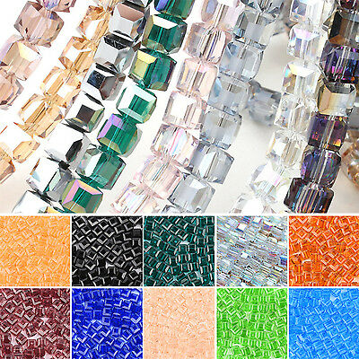 Fab 100PCS DIY Crystal Beads Cube Square Loose Spacer Jewelry Charm Making 6MM
