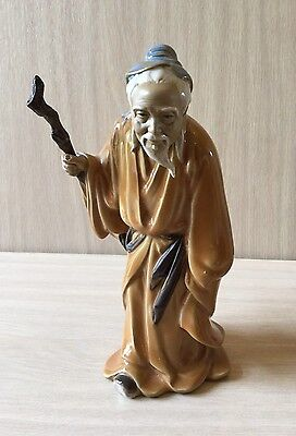 Chinese Mudman Figurine Of Elderly Monk/wiseman