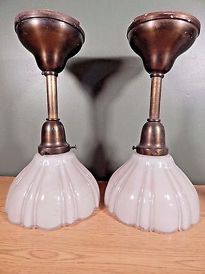 Antique Pair Of Hanging Lights With Shades Removed From An Ohio Masonic Lodge