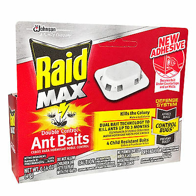 Raid 4 DOUBLE CONTROL ANT BAITS Child-Resistant DEFENSE SYSTEM Kills for 3 MONTH