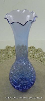 Blue Crackle Glass Bud Vase Vintage