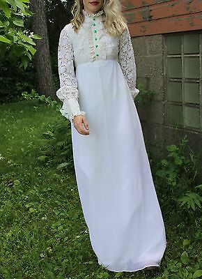 Vintage Wedding Dress Lace Bodice Long Sleeve White Gown 70's Ruffle Collar Maxi