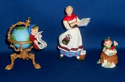 Hallmark Ornament 3 Piece Set Lettera, Globus & Mrs Claus 2001 Collectors Club