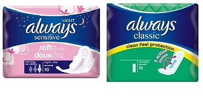 Always Sanitary Pads Classic Sensitive Night Ultra Pads with Wings British UK
