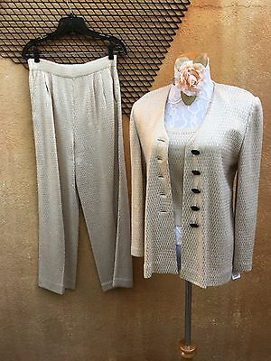 St. John Evening Suit by Marie Gray 3 pc Pants and Top Size 2 Sparkling Knit
