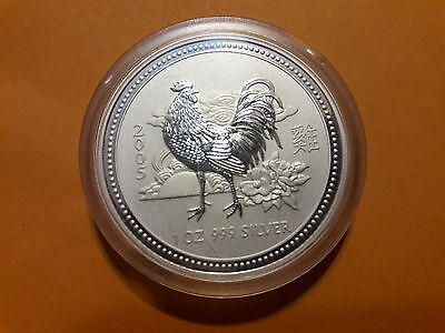 2005 AUSTRALIAN LUNAR SERIES 1 YEAR OF THE ROOSTER 1oz Pure .999 SILVER BU