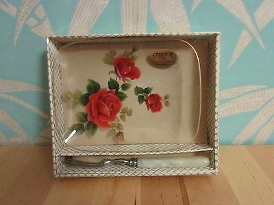 """Early 1970s boxed Chance Glass """"Sovereign Rose"""" plate & Sheffield Steel fork set"""
