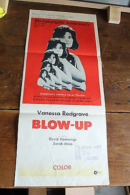 "BLOW UP ORIGINAL MOVIE POSTER Daybill 13 x 30"" David Hemmings Antonioni Redgrave"