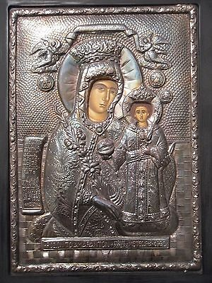 Beautiful Orthodox Icon, Madonna & Child, Virgin Mary & Jesus, Sterling Silver