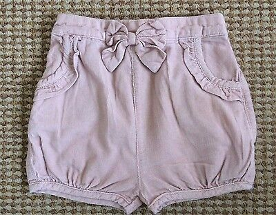 TU dusky pink CORD BOW SHORTS 6-9 baby girl summer