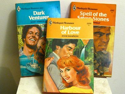 3 Harlequin Romance Novels 1970's Anne Hampson, Jane Donnelly, Mary Wibberly