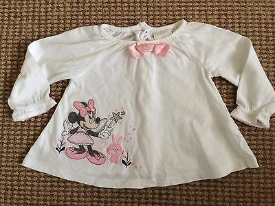 DISNEY Minnie Mouse WHITE SMOCK TOP long sleeve 6-9 baby girl summer
