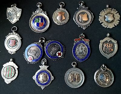 Old Antique 14 Real Silver Watch Fob Charms Enamelled Gold Fronted Scottish Prov